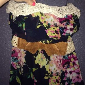 Strapless floral dress!