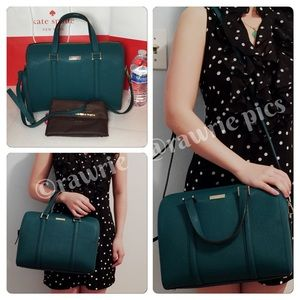 New Kate Spade saffiano leather green Satchel