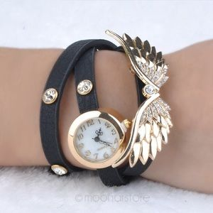 PU Leather Angel/Wings/Rhinestone Quarts Wristwash