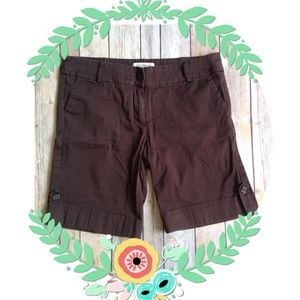 Pants - Cute Cuffed Brown Bermuda Button Shorts