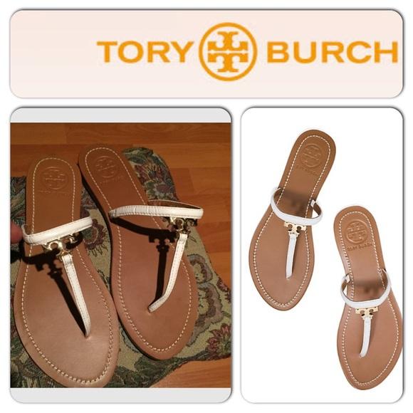 842d72f965902d ✨Tory Burch T logo flat white thong sandal✨ NWT