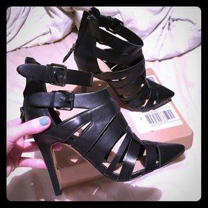 Zara black leather caged heels!