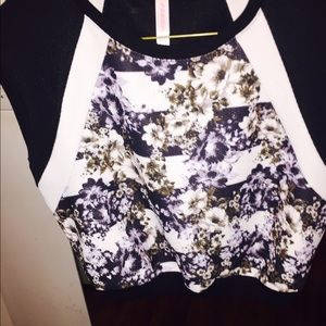 Flower print, crop top jersey