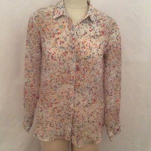 NWT Zara Painted Sheer Floral Blouse Size Large