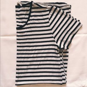Black and White Striped Jersey T-Shirt Dress
