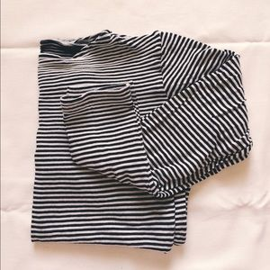 American Apparel Boatneck Striped Long Sleeve Top