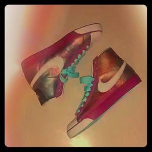 Purple metallic nike sneakers