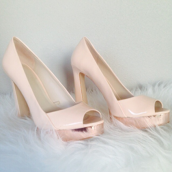 Zara Shoes - Zara Rose Gold Peep Toe Platforms