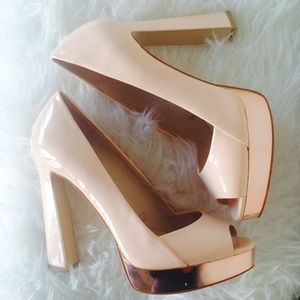 Zara Rose Gold Peep Toe Platforms