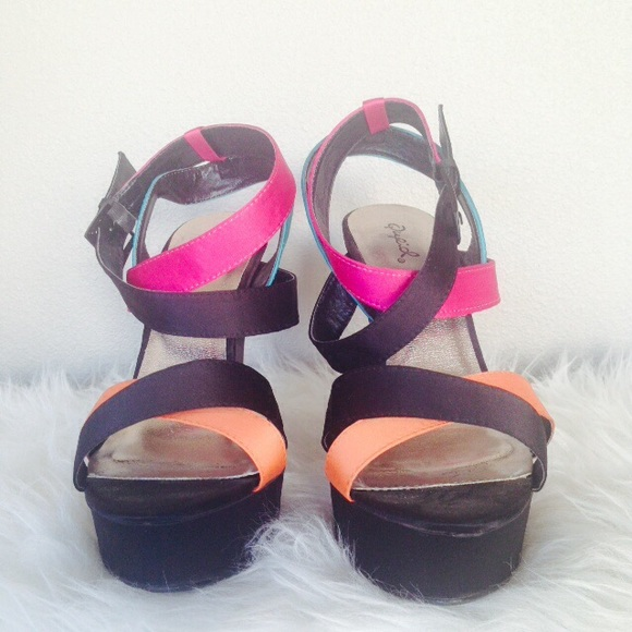 Qupid Shoes - Multi-Colored Strappy Satin-like Platforms