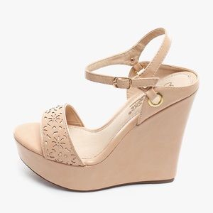 NEW Laser Cut Nude Wedge Sandals