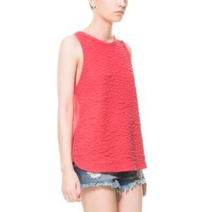 Zara Tops - Zara Combined Fabric T-Shirt - Light Red