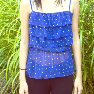 Tops - 🎉HOST PICK🎉Blue Daisy Tank Top