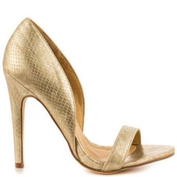 50% off JustFab Shoes - JustFab Amena Matte Gold Snakeskin Heels