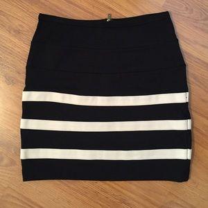 Black/Cream Stripes High Waisted Skirt