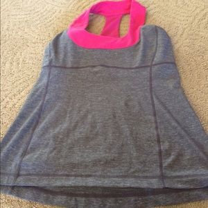 lululemon athletica Tops - Lululemon tank top. Grey with hot pink. Size 10