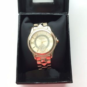 bebe Accessories - Bebe Gold + Rhinestone Watch