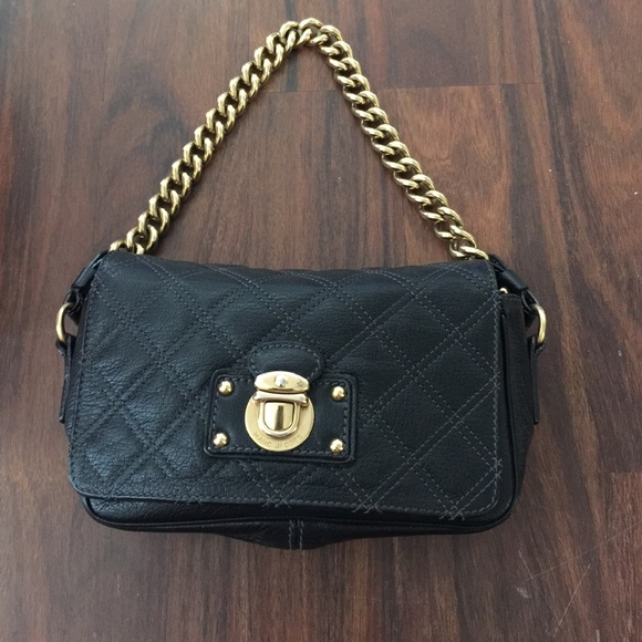 ade00641dd57 Marc Jacobs Black Leather Quilted Bag- Gold Chain.  M 5532d4de01985e124c004061