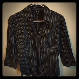 Willi Smith Tops - Black and grey striped button-down shirt