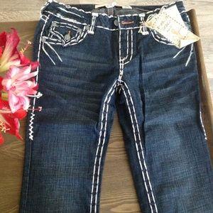 Denim - Straight cut denim jeans w/leather pocket detail