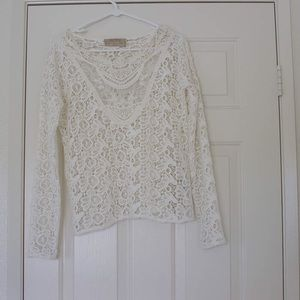 Zara ivory cream white lace crochet top