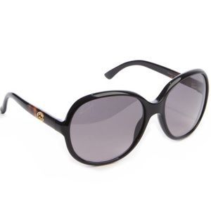 Gucci black and taupe acrylic round glasses