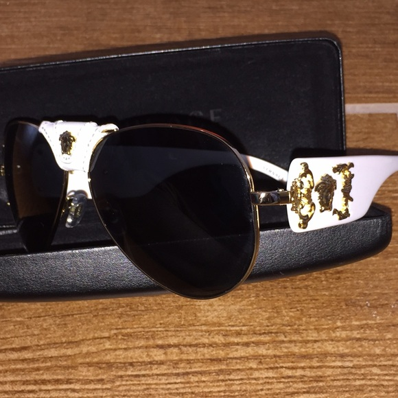 6acab0c9224db Gold Sunglasses Medusa Versace Accessories White Aviator Poshmark xUqwInB