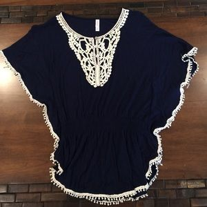 Exhilaration Tops - ✨Navy Blue Crochet Tunic ✨