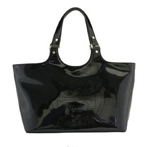 Tory Burch black patent leather tote with logo!