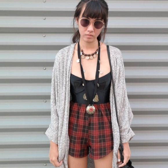 Brandy Melville - Brandy Melville Red Plaid High Waisted Shorts ...
