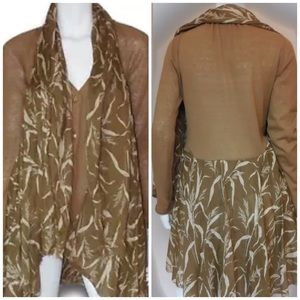 Anthropologie Knitted & Knotted Scarf Cardigan