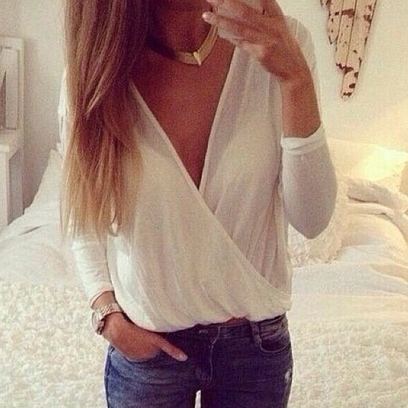 20% off Lookbook Store Tops - White Low-cut Shirt from Lookbook ...