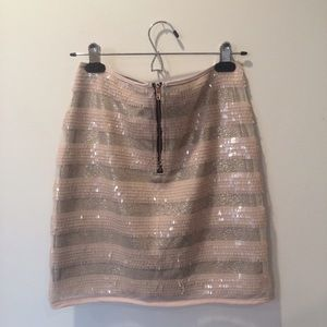 Sequined Shimmer Striped Mini Skirt