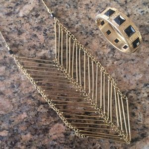 Geometric Gold + Black Necklace w/ FREE Cuff