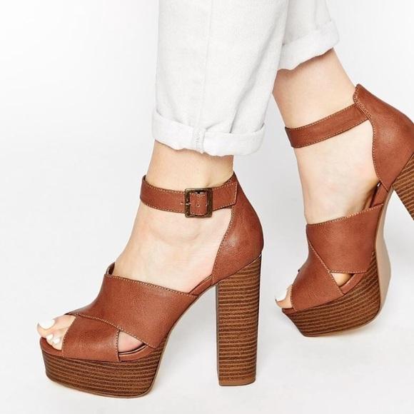 New Look Tan Brown Platform Chunky Gladiator Block Heels Sandals Size 5