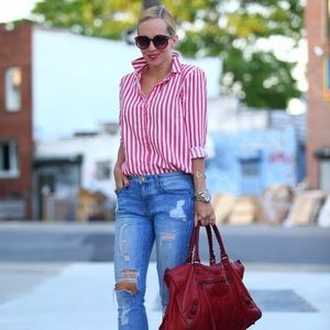 Zara Tops - Zara Red & White Striped Shirt