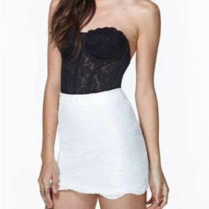 Nasty Gal Scalloped Sequin Skirt White