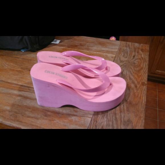 Colin Stuart Shoes  Pink Wedge Flip Flops  Poshmark-4582