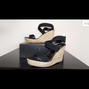 Braided wedge sandals black espadrilles