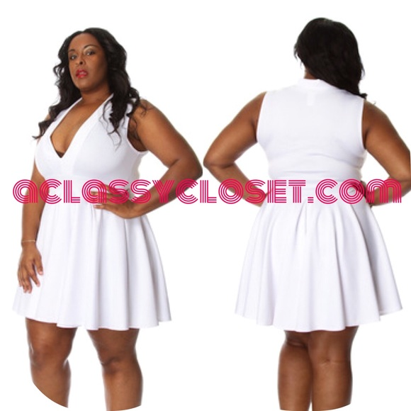 5de78a06cf Plus Size White Deep-V Skater Dress