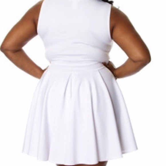 White Skater Dress Plus Size White Deep-v Skater Dress
