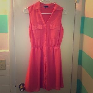 Salmon collared dress