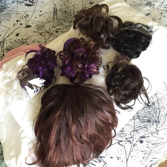 Accessories Set Of 6 Dark Brown Purple Hair Extensions Pieces