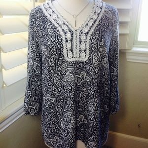 Carole Little Tops - Carole Little Black Paisley Resort Tunic Top
