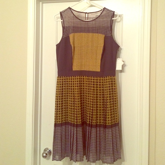 ccf53dc4f6ee Yellow and Grey Patterned Halogen Dress