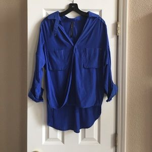 Tops - Royal Blue High Low Blouse