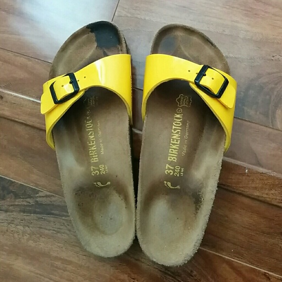 7bf2d8eaa47 Birkenstock Shoes - Birkenstock Patent Yellow Madrid Sandals