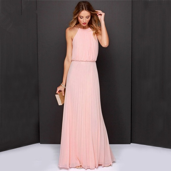 Pink maxi dress bridesmaid