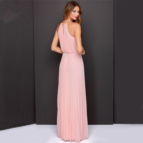 Blush colored maxi dress