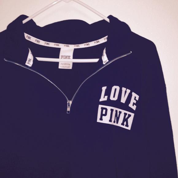 PINK Victoria's Secret - Black & White VS PINK Half-Zip Pullover ...